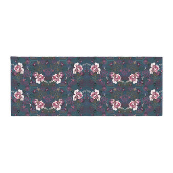 "DLKG Design ""Cool Stitch"" Purple Navy Bed Runner"