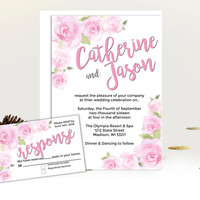 Rose wedding invitation set - watercolor garden invites - floral wedding suite - white blush pink flowers - printed printable wedding