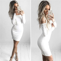 Autumn Winter Long Sleeve Dresses Sexy Off Shoulder Bodycon Party Dresses Vestidos