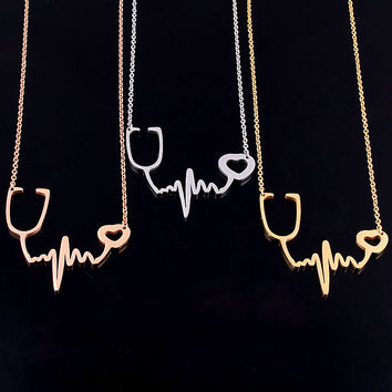 Medical I Love You Heartbeat Chain Necklace Stethoscope Necklaces Women Heart Jewelry Collares Collier Femme Nurse/Doctor Mujer