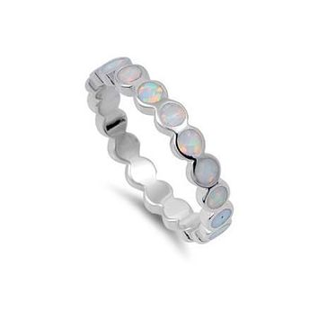 Sterling Silver Round Opal Inlay 4mm Eternity Ring