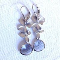 Dangling double orchid and Grey glass drop leverback earrings / Spring fashion / Bridesmaid earrings / Wedding jewelry ,