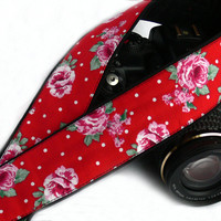 DSLR Camera Strap. Floral Camera Strap. Black Red Camera Strap with Roses. Women Accessories