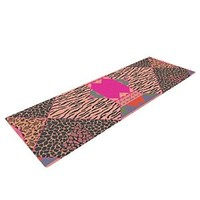 "Kess InHouse Vasare Nar ""New Wave Zebra"" Yoga Exercise Mat, Pink, 72 x 24-Inch"