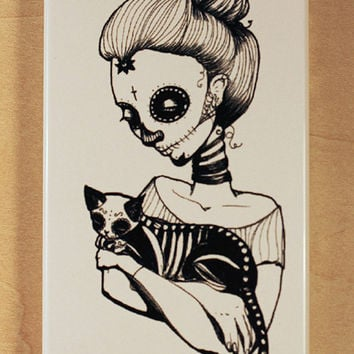 iPhone 4 / 4S case - Dia de Los Muertos (day of the dead) Gatos sugar skull cat illustration