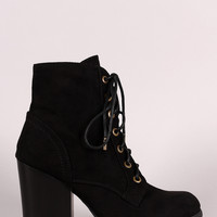 Bamboo Suede Combat Lace-Up Round Toe Booties
