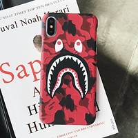 BAPE AAPE Trending Women Men Stylish Shark Mouth iPhone Phone Cover Case For iphone 6 6s 6plus 6s-plus 7 7plus iPhone 8 iPhone X Camouflage Hard Mobile Phone Shell I13217-1