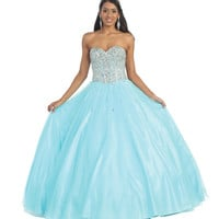 Prom Long Ballgown Strapless Beaded Rhinestones Bodice Organza Quinceanera Dress