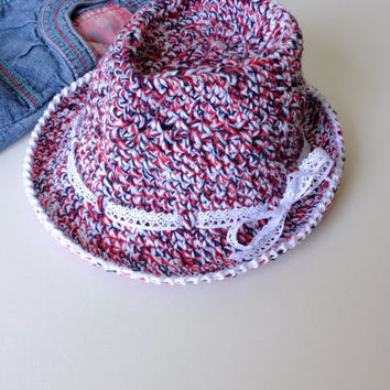 Baby Girl Fedora Hat Toddler Crochet Fedora Cotton Summer Hat Baby Girl Shower Gift Photography Props Girls Beach Hat LaceTrim Cotton Fedora