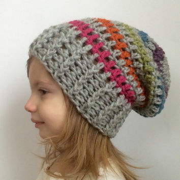 Rainbow slouch hat, crochet slouch hat, striped slouch hat, kids winter hat
