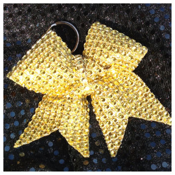 Gold Rhinestone Keychain Holders Bow Ribbon Cheer Dance