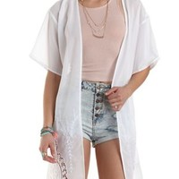 Embroidered Chiffon Duster Kimono by Charlotte Russe