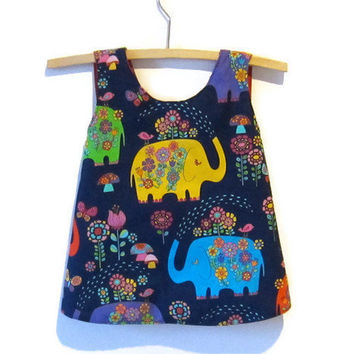 Reversible Baby dress & pants bloomers set, crossover back, sundress pinafore jumper navy blue elephant upcycled size 0 to fit 6 - 12 months