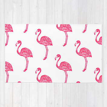 American Flamingo (pink) Area & Throw Rug by The Wallpaper Files | Society6