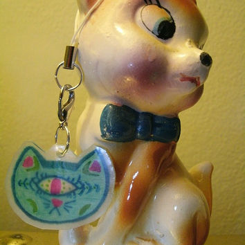 PSYCHEDELIC CYCLOPS minty cat zipper pull / cell phone charm / ornament