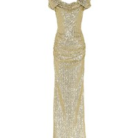 Sequined puff-sleeve gown