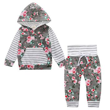 Hot Sale Fashion Autumn Baby Clothing Sets New Cotton Boys Girls Long Sleeve Hooded Tops And Pants Floral Newborn Clothes Suits