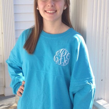Monogrammed Spirit Pom Pom Pullover Football Jersey Women's Youth Long Sleeve