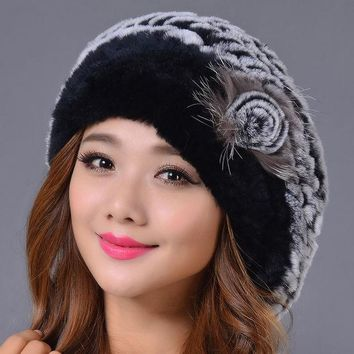 ONETOW 2016 New Genuine Rex Rabbit Fur Beanies Hat Women Winter Elegant Hat Warm Casual Striped Caps  Russia Fashion Female Caps