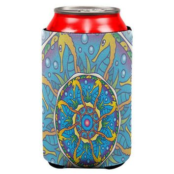LMFCY8 Mandala Trippy Stained Glass Seahorse All Over Can Cooler
