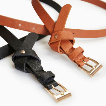 Vegan Leather Knotted Belt 2-Pack | Wet Seal