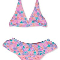 Toddler Girl's Hula Star 'Texture Pyramid' Two-Piece Swimsuit,