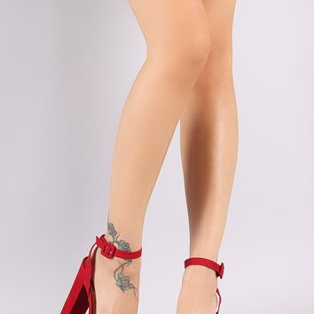 Bamboo Ankle Strap Chunky Platform Heel