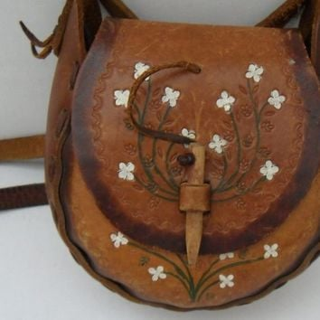 Vintage Leather Hippie Chick Purse with Wooden Toggle Closure