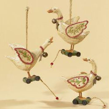 6 Christmas Ornaments - Country Geese