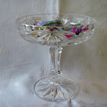Compote Candy Dish Austrian Lead Crystal Pinwheel Cut Glass Pedestal