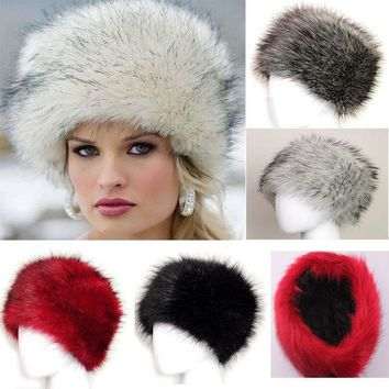 DCCKJG2 New Winter Warm Women's Faux Fox Fur Hat Russian Style Winter Cap Fashion