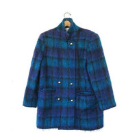 STOREWIDE SALE... 80s mohair winter coat. fuzzy coat. plaid wool coat.