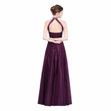 Elegant Halter A Line Satin Flowers Beading Sleeveless Long Evening Dresses Lace Up Floor Length Evening Dress