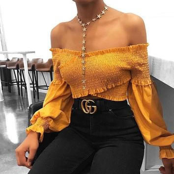 Corinna Off-the-Shoulder Boho Crop Top