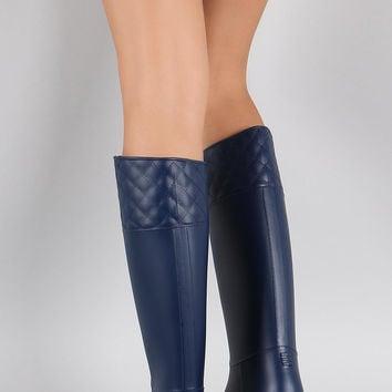 Bamboo Embossed Quilted Pattern Jelly Rain Boots