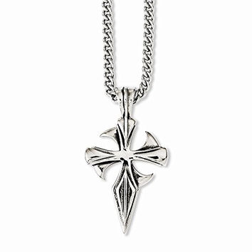 Stainless Steel Polished & Antiqued Dagger Cross 22in Necklace