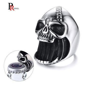 Men's Skull Rings Gothic Biker Punk Vintage Scar Jaw Stainless Steel Beer Bottle Opener for Men Women Jewelry