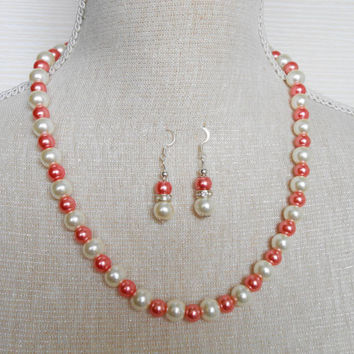 Ivory and Peach Pearl set, Bridesmaid set, Gift for wife, Etsy jewelry, Jewelry set, Mother of the groom, Gift for daughter,