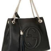 DCCK Gucci Soho Medium Black Double Leather Chain Shoulder Bag Tote Black Gold New