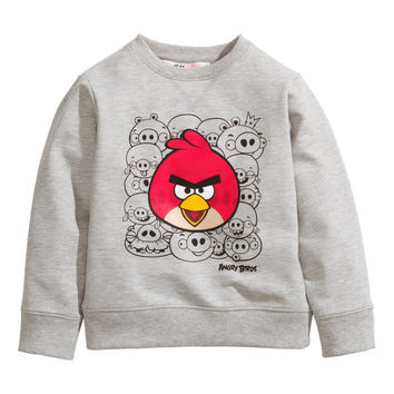 H&M - Sweatshirt with Printed Design - Light gray/Angry Birds - Kids