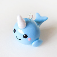 Baby Blue Narwhal Charm by MadAristocrat on Etsy