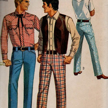 Retro 70s 60s Simplicity Sewing Pattern Country Western Men's Shirt Square Dance Outfit Cowboy Vest Casual Pants Chest 40