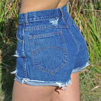 "High Waisted Shorts Chic Size 6 Distressed Cuffed Denim Milky Fr3sh ""Heather"""