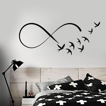 Vinyl Wall Decal Infinity Sign Flock of Birds Swallows Stickers (2457ig)