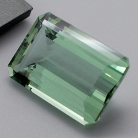 Green Amethyst: 25.21ct Emerald Shape Gemstone, Faceted Mint Green Prasiolite, Vermarine, Lime Citrine Gem, Loose Quartz Mineral 20848