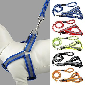 Step-in Adjustable Reflective Nylon Noctilucent Small Dog Puppy Harness Leash Lead Set  Safety For Walking 5 Colors 3 Sizes