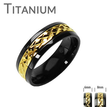 High Roller Ring - Miniature Semi Prism Design Glossy Gold Finish with Black Border Titanium Ring