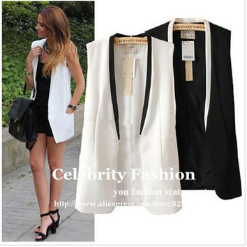 CS451 2016 New Celeb Style Women Tailored Tuxedo Vest Waistcoat Sleeveless Blazer Jacket Vest Coat Black White Free Shipping