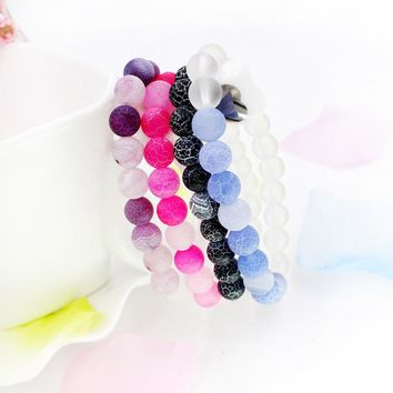 Originality White Blue Weathering Natural Stone Beads Bracelet With Leopard Lava Stone For Men Women pulseras