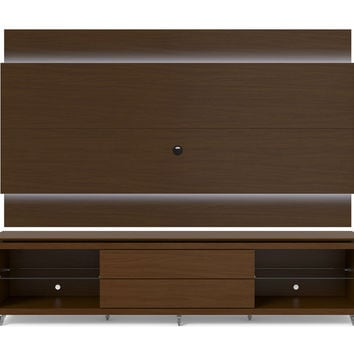 Lincoln TV Stand with Silicon Casters and Lincoln Floating Wall TV Panel with LED Lights 2.4 in Nut Brown